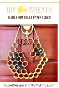 DIY empty toilet paper roll wreath with bees