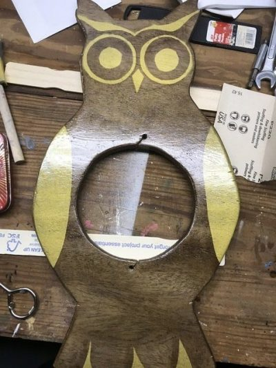 DIY owl with gold paint