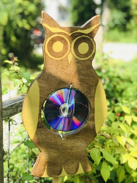 Gold side of the DIY Garden Owl