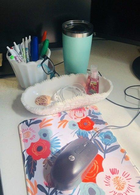Milk glass pen holder and nicknack tray.