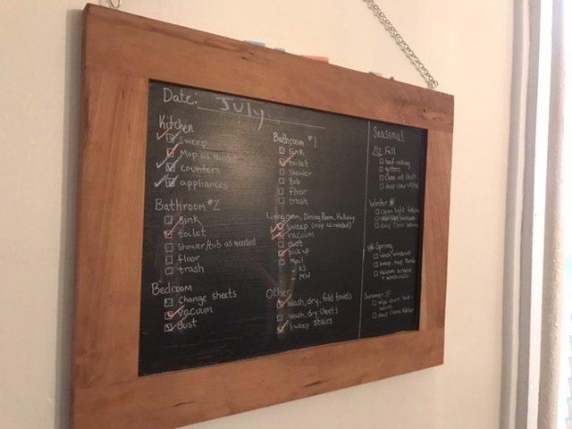 Cabinet door turned into chalkboard