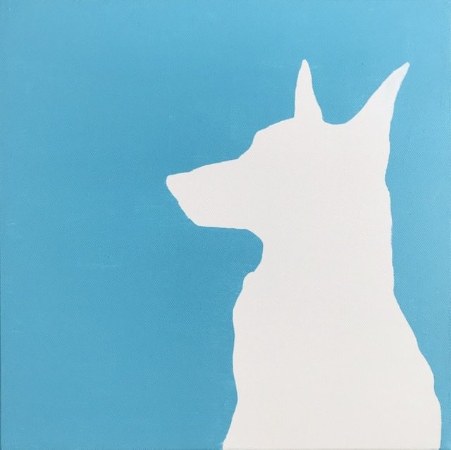 Alert dog on light blue background